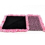 Big Cheetah Print With Bubble Pink And Blank Trim Custom Blanket
