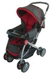L A Baby Standard Stroller Red & Grey